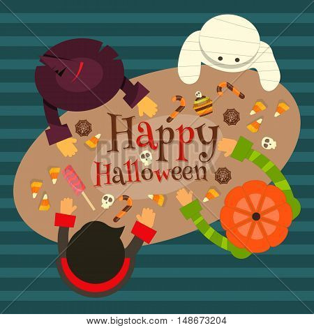 Halloween Card - Trick or Treat Characters Sitting at the Table with Sweets. Top View. Retro style. Vector illustration.