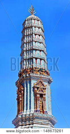Ancient pagoda at Wat Phra Kaew temple in Bangkok Thailand