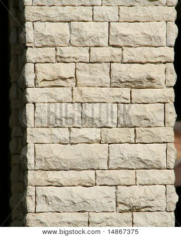 Limestone bricks on a support column