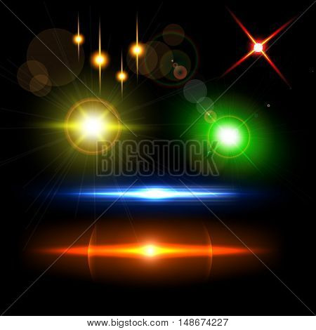 Set of sparkle lights with transparency effects. Collection of beautiful bright lens flares. Lighting effects of flash. Easy to use.