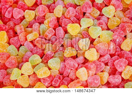 Many bright color jelly candies sweets with sugar tasty as jujube