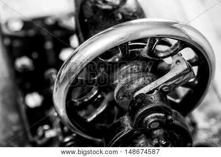Old vintage hand sewing machine. Selective focus