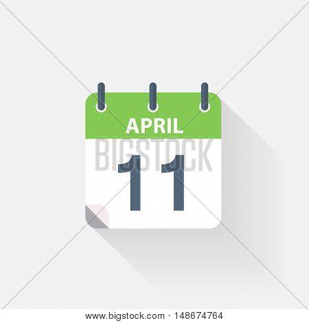 11 april calendar icon on grey background
