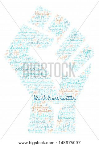 Black Lives Matter Word cloud in shape of a fist.