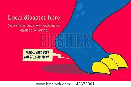 Error 404 page. The leg of big monster with scream speech balloon. Error page design template.