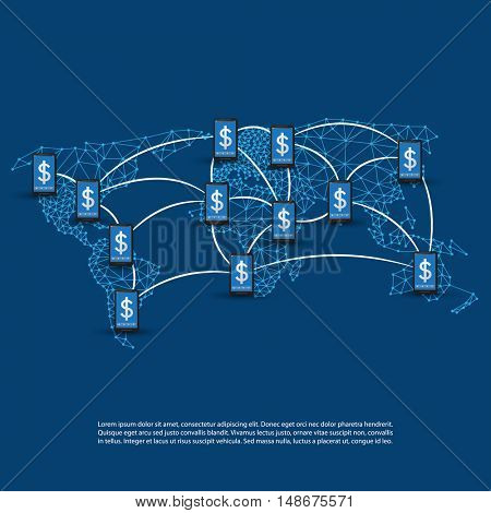 Global Online Payment Systems, Mobile Banking Concept, Worldwide Transactions, Connections and Networks, Vector Design