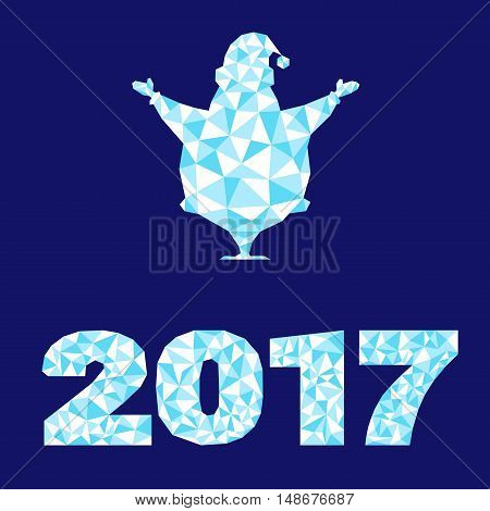 Happy New Year Background Silhouette Santa Claus And Number 2017 Decoration As Crystal Structure Iso