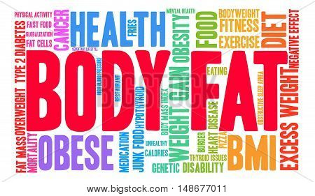 Body Fat word cloud on a white background.