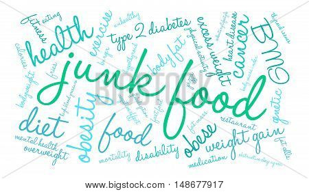 Junk Food word cloud on a white background.