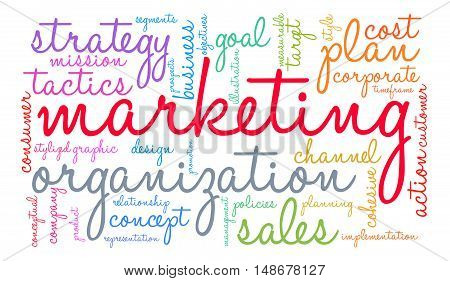 Marketing word cloud on a white background.