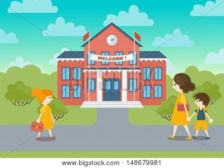 School building and schoolchild vector illustration. Welcome to school