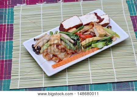 Fried mixed vegetables with tofu in Vegetable festival of Chinese.