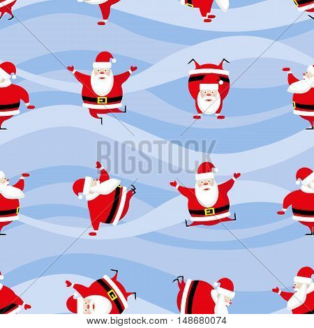 Seamless Happy New Year and Merry Christmas background dancing funny Santa Claus in different poses. Vector illustration