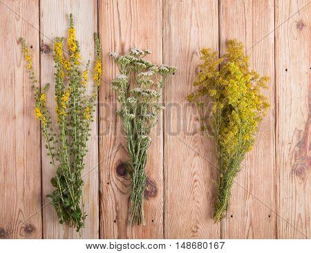 Alternative Medicine Concept - Herbs On Wooden Background