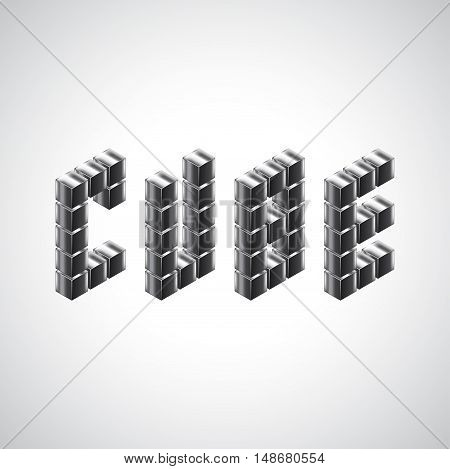 Cube word from 3d metal cubes vector background