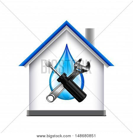 House and plumbing service tools icon isolated on white background vector