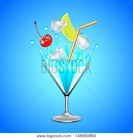 Ice cubes and fruits falling into blue lagoon cocktail vector background