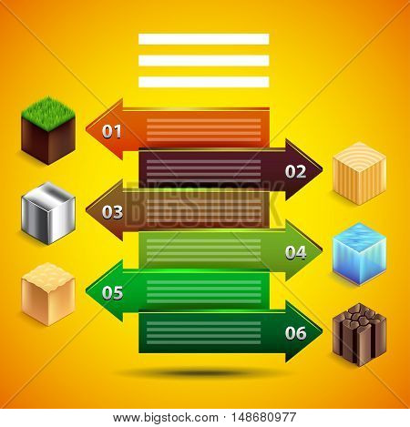 Infographics with arrows about natural resources. Cubes from earth water sand wood metal