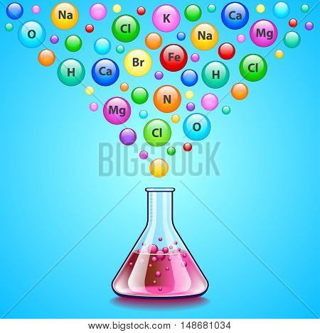 Laboratory flask and many bubbles with chemical elements falling into it