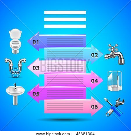 Plumbing infographics with arrows and objects icons vector template