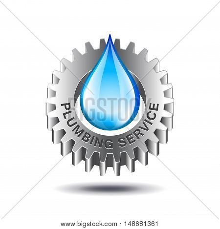 Plumbing service concept with metal gear and water drop isolated on white background