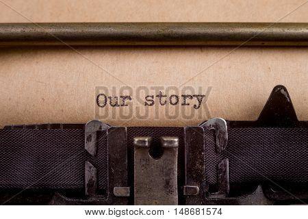 Typed Words On A Vintage Typewriter