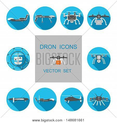Set of drones vector isolated icons with shadows.