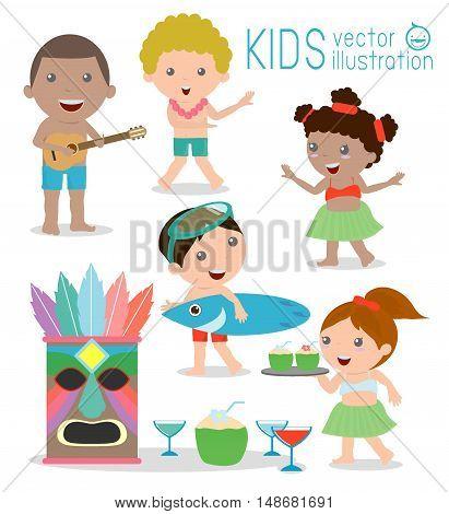 Hawaii Kids Vector Set, Hawaiian, Hawaii Set ,Vector illustration cartoon. Hawaii children