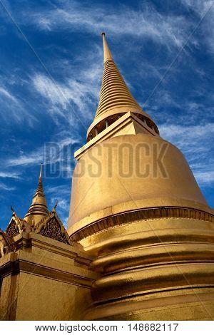 Phra Sri Rattana Chedi in Sri Lankan style at Wat Phra Kaew Temple in Bangkok, Thailand