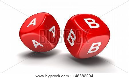3D Illustration. Dices with letter A, B. Image with clipping path