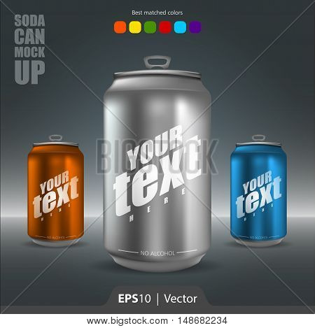 Soda can realistic mock-up vector illustration for web and print
