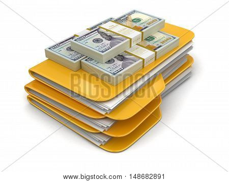 3D Illustration. Folders and files with dollars. Image with clipping path