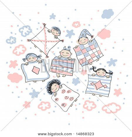 Sleeping little childrens in pink gamma. Cute doodles, vector, editable.