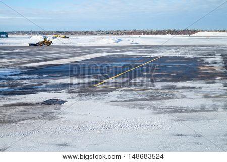 Snowy Empty Runway Field. Airport In Winter