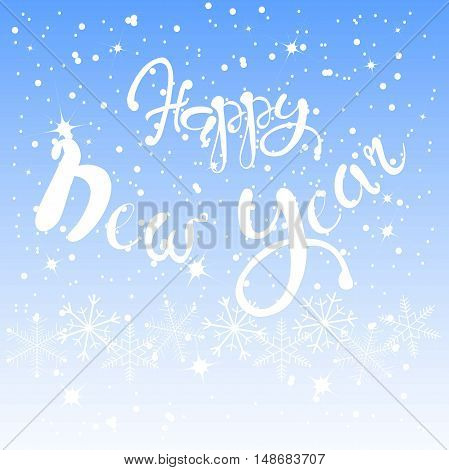 White lettering Happy New Year on blue sky background, white snow-flakes, vector illustration