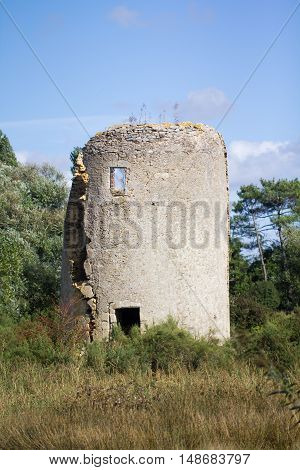Ruin of the Gueffard mill in l'Ile d'Olonne (France)