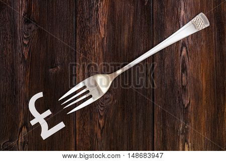 Fork and pound sterling sign on wooden table Abstract conceptual image