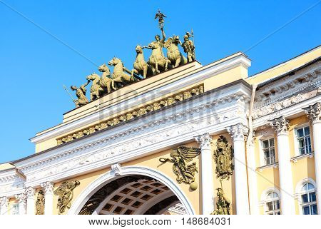 Sculptural composition Chariot of Glory is on the Triumphal Arch of General Staff Building. Palace Square in Saint Petersburg Russia (1829)