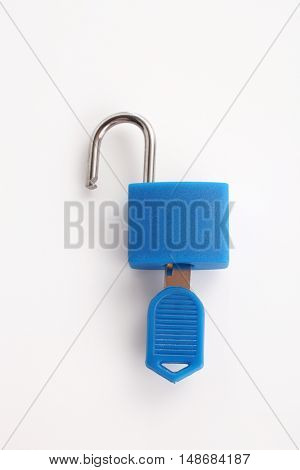 pad lock with key on the white background