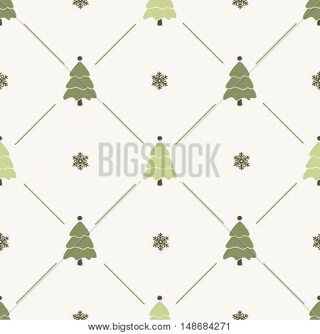 Christmas pattern, seamless design. Merry Christmas card decoration. Happy New Year ornament. Vintage graphics of Christmas tree and snowflake. Hand drawn vector icons for holiday sale, celebration.