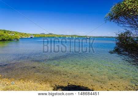 The sunny harbour of the Town of 1770 in Queensland Australia.