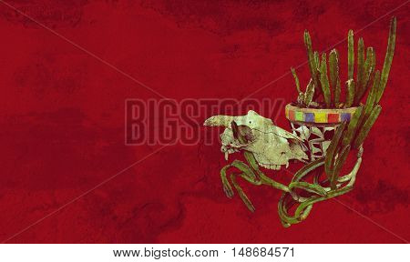 Sheep skull and Mexican mosaic pot plant with cactus on a red background. Grunge textured image with copy space for text.
