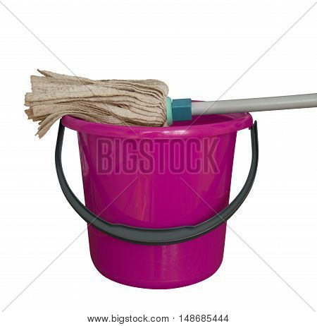Pink bucket with cleaning mop isolated on a white background. Clipping path included.