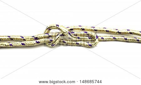 Tied rope together and tie a knot.
