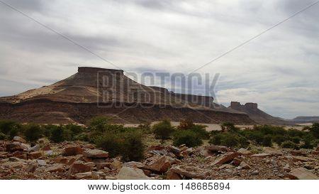 Landscape with Adrar mountain rocks and desert Mauritania