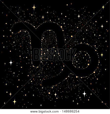 Starry sky with an image of the zodiac sign Capricorn with colorful stars on a black. background.