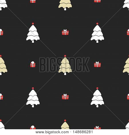 Christmas pattern, seamless design. Merry Christmas card decoration. Happy New Year ornament. Vintage graphics of Christmas tree and gift box. Hand drawn vector icons for holiday sale and celebration.
