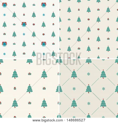 Christmas pattern, seamless. Merry Christmas card decoration. Happy New Year ornament design. Vintage Christmas tree, snowflake, gift. Hand drawn vector icons for holiday celebration. Blue, red set.