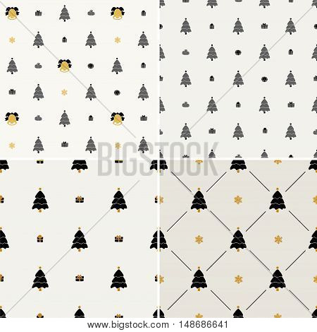 Christmas pattern, seamless. Merry Christmas card decoration. Happy New Year ornament design. Vintage Christmas tree, snowflake, gift. Hand drawn vector icons for holiday celebration. Black gold set.