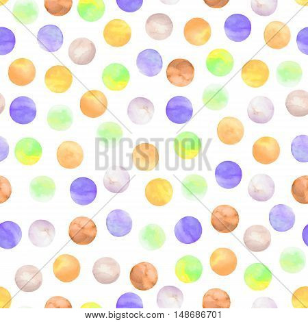 Vector seamless pattern drawn watercolor. Round shapes background. Painted ornament. Set of watercolor shapes.